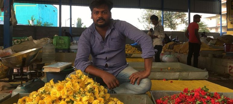 Flower market, Hosur, Tamil Nadu. (This snap was taken on the first day of demonetisation)