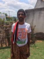 Krishnagiri, Tamil Nadu. Nothing quite like malnourished poor wearing TShirts endorsing strongman leaders