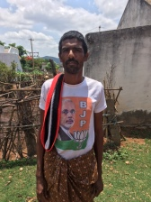 Krishnagiri, Tamil Nadu. Nothing quite like malnourished poor wearing TShirts endorsing strongman leaders