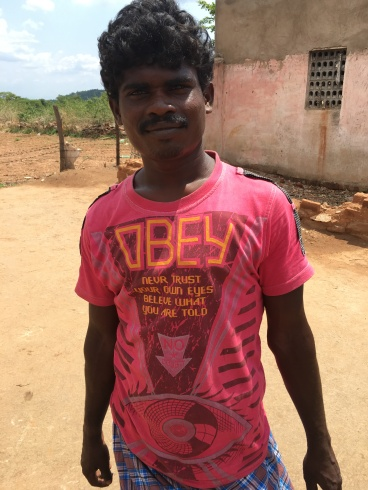 A much better choice of TShirt. In one of the poorer parts of Tamil Nadu. Krishnagiri.