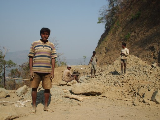 Migrant workers at Kaladan highway, Lawangtlai, Mizoram